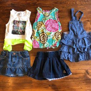 Other - Girls size 3 clothing bundle 5 items skirts tanks